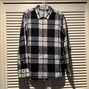 North Face, button front, plaid shirt, L